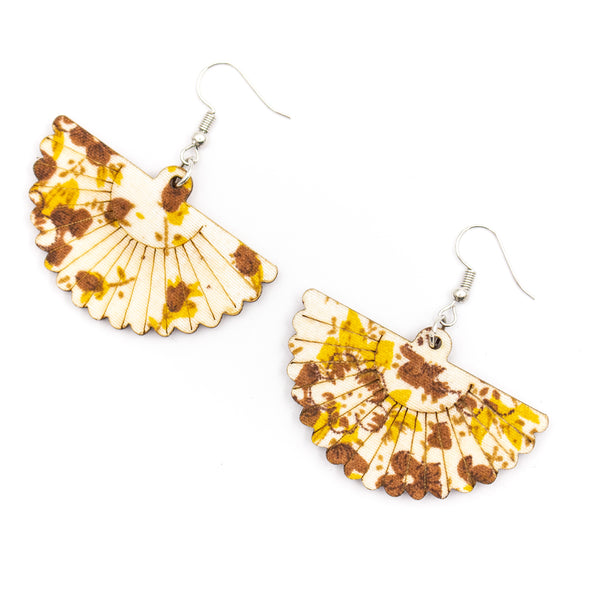 Natural wood yellow printed scalloped earrings Original handmade ladies earrings-ER-089