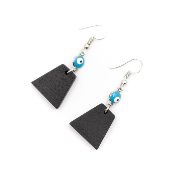 Natural cork,wood, Blue eyes and trapezoidal pendant earrings Original handmade ladies earrings-ER-091