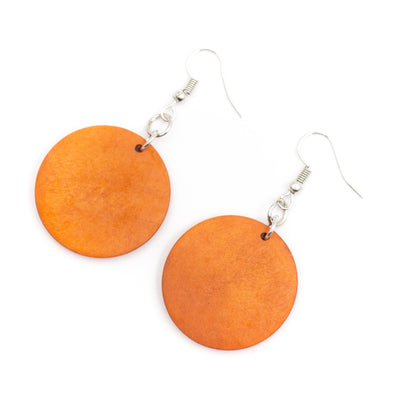 Natural wood, Orange round pendant earrings Original handmade ladies earrings-ER-078