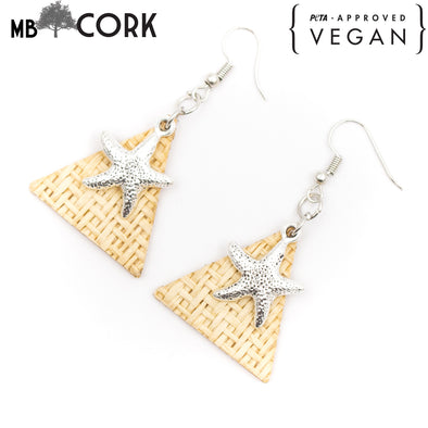 Triangle grass weave with starfish pendant earrings Original handmade ladies earrings-ER-092