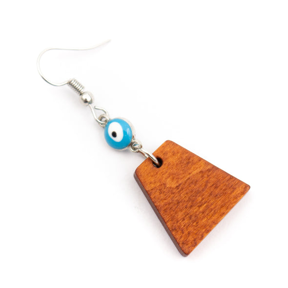 Natural wood, Blue small eyes and trapezoidal pendant earrings Original handmade ladies earrings-ER-083