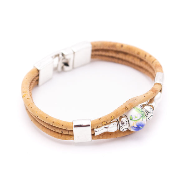 Colorful cork with zamak beads and Colored porcelain beads handmade friendship bracelet adjustable BR-470-MIX-5