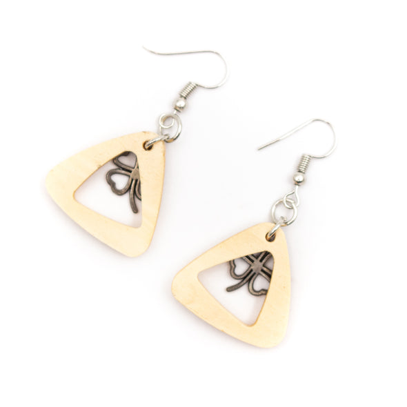 Triangle natural wood with bronze flower earrings Original handmade ladies earrings-ER-079