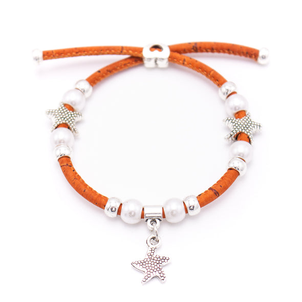colorful cork with Pearl and starfish pendant  handmade friendship bracelet adjustable BR-421-MIX-10