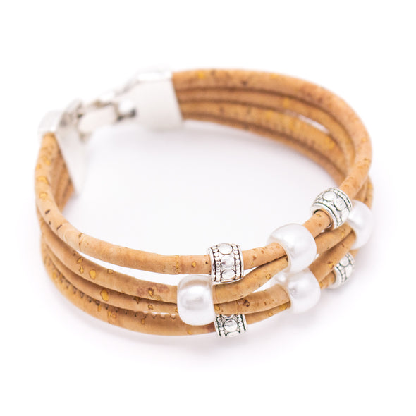 Colorful cork and Natural cork with pearl beads handmade women bracelet jewelry BR-459-MIX-5