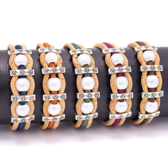 Colorful cork with pearl handmade friendship bracelet adjustable BR-408-MIX-5