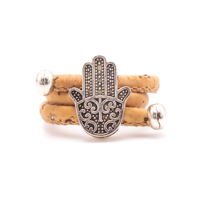 Natural cork Antique sliver fatima hand vintage women cork Ring original adjustable handmade wooden vegan jewelry HR-020