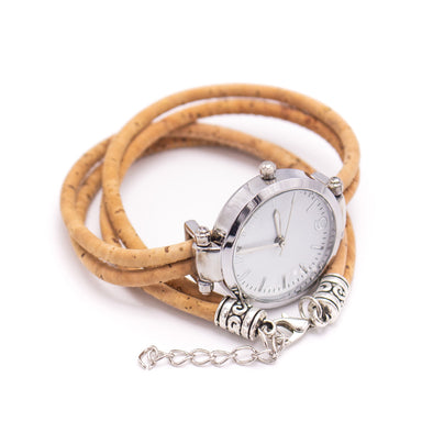 Cork natural color ladies watch belt, cork bracelet, cork silver watch, bracelet watch, DIY-012