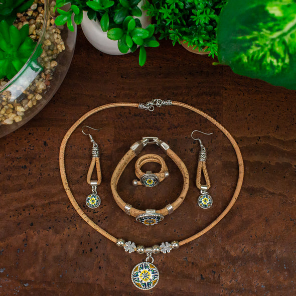 Cork jewelry set Portugal traditional ceramic tile pattern  jewelry SET-071