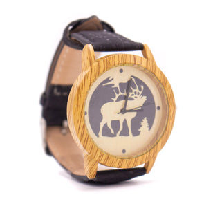 Cork watch black cork handmade Original men cork watch WA-103-B