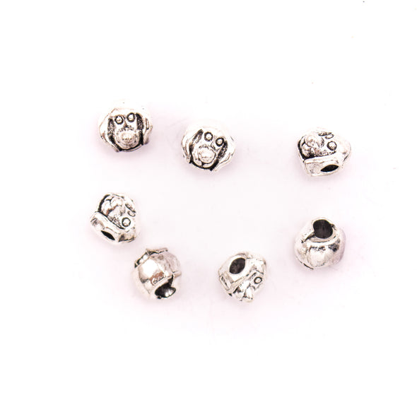10PCS For 5mm leather antique silver zamak 5mm round beads Jewelry supply Findings Components- D-5-5-159