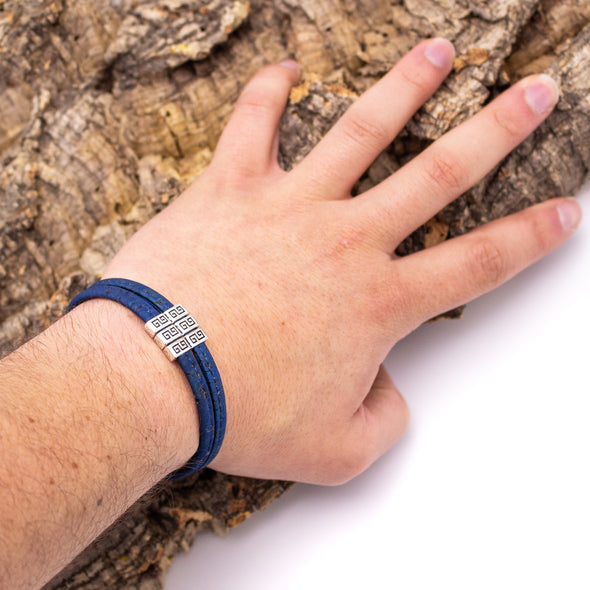 Natural, blue and grey Cork handmade original men's bracelet BR-472-MIX-6