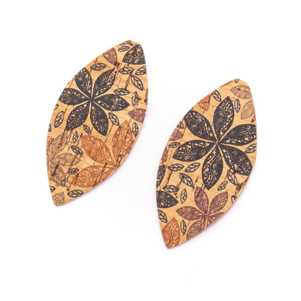 10Pcs Leaf-shaped Double-sided printing cork fabric suitable for any jewelry DIY D-3-462