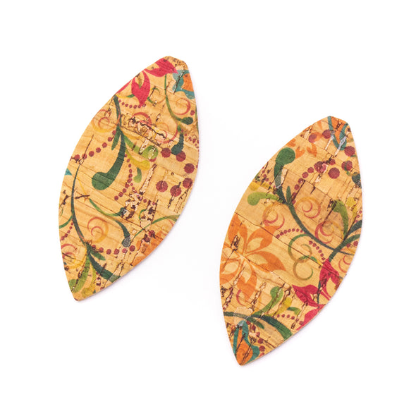 10Pcs Leaf-shaped Double-sided printing cork fabric suitable for any jewelry DIY D-3-460