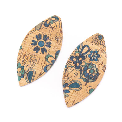 10Pcs Leaf-shaped Double-sided printing cork fabric suitable for any jewelry DIY D-3-464