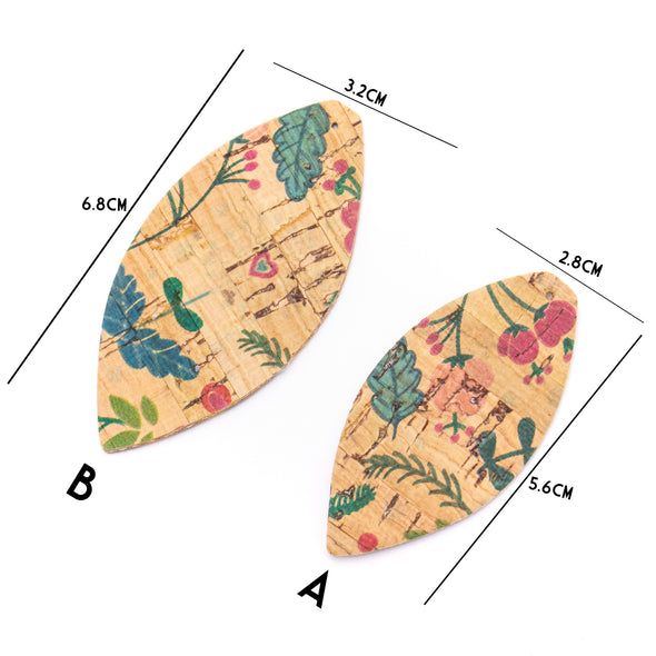 10Pcs Leaf-shaped Double-sided printing cork fabric suitable for any jewelry DIY D-3-461