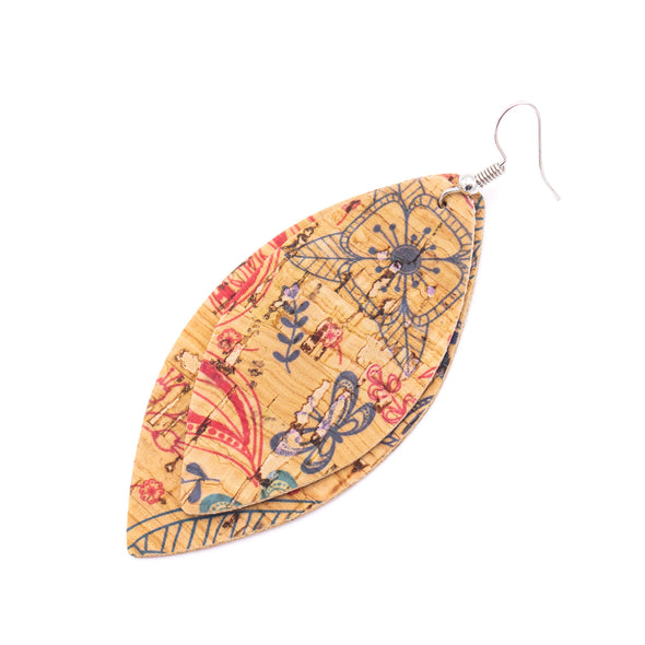 10Pcs Leaf-shaped Double-sided printing cork fabric suitable for any jewelry DIY D-3-463