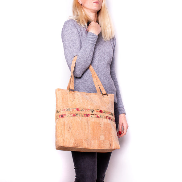 Natural cork with pattern girls women handbag  BAGP-022