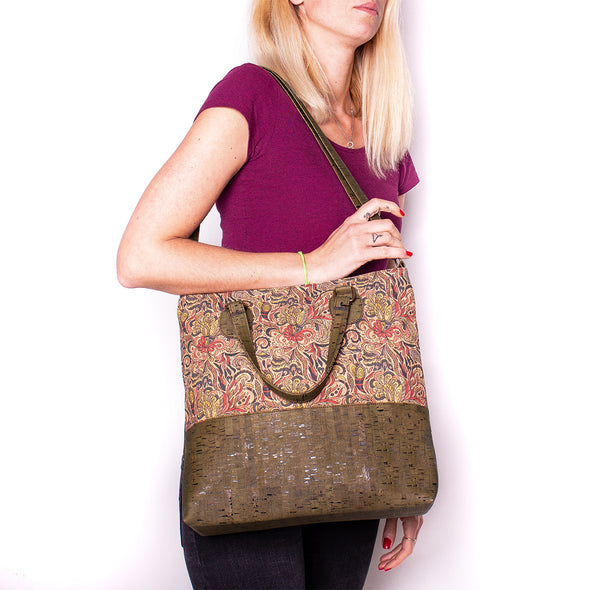 Natural cork with pattern cork girls women handbag with strap BAGP-010
