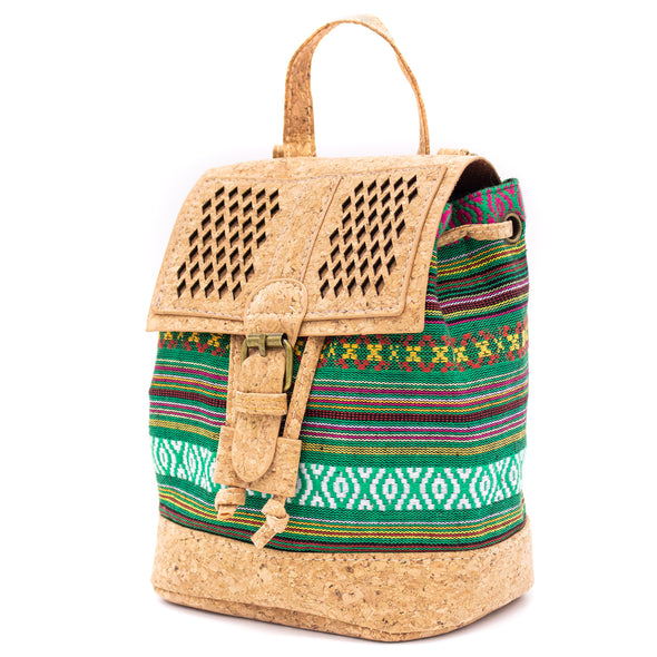 Buy 1 and Get Another One For Free Laser-cut cork with Colorful Textile women backpack BAG-618