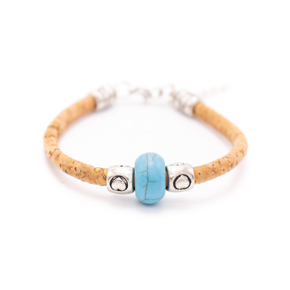 Natural 5mm round Cork with Colored turquoise beads handmade  bracelet for women jewelry bracelet  jewelry BR-430-MIX-12