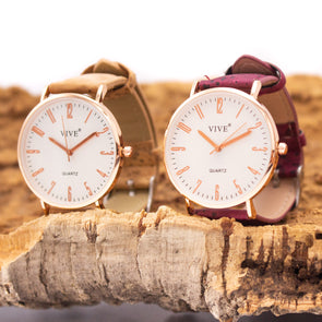 Cork watch for Unisex adults with /natural/red strap in box  WA-155-A/B