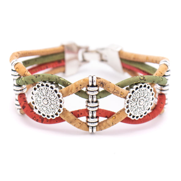 Cork jewelry cork bracelet for women colorful Cork handmade Original bracelet PB-014-MIX-5