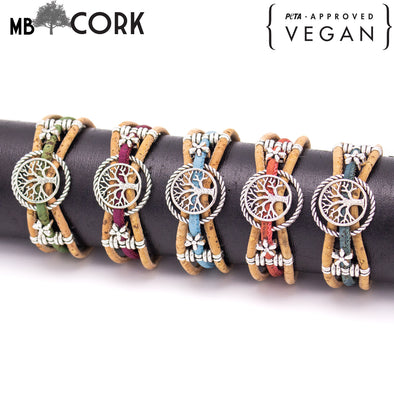 Cork jewelry cork bracelet for women colorful Cork handmade Original bracelet PB-009-MIX-5