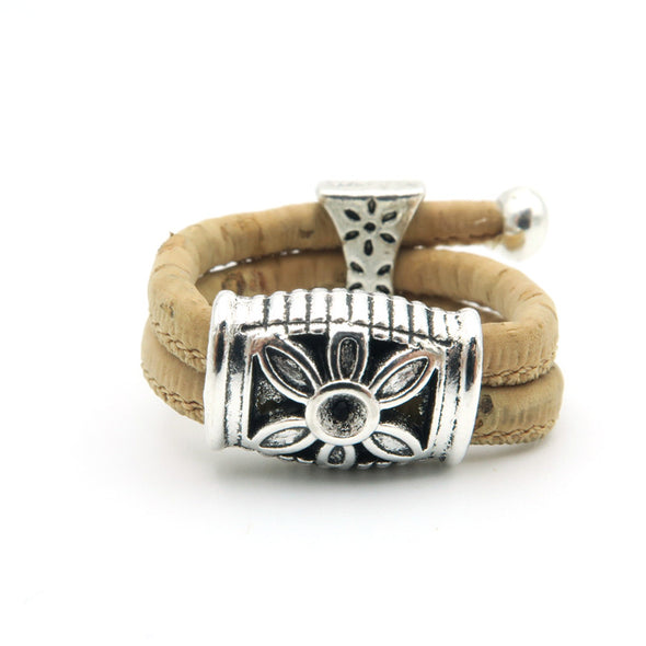 Natural cork Ring silver flower for women original adjustable handmade wooden vegan jewelry R-032