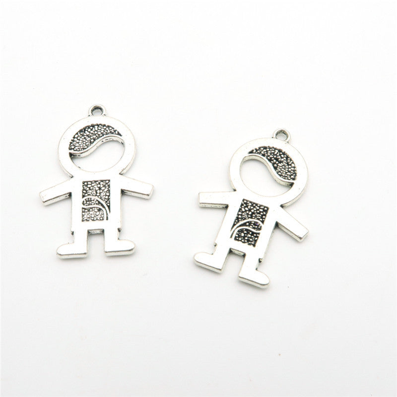 10pcs Small cute girl daughter pendants antique silver zamak jewelry finding D-3-59,D-3-60