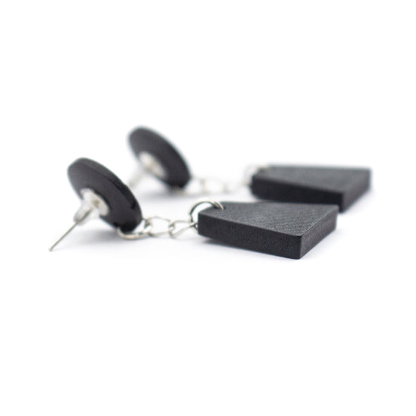 Black wood Original handmade women earrings-ER-102