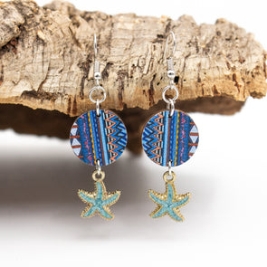 Colored log pendant with blue starfish  women earrings Original handmade ladies earrings-ER-104