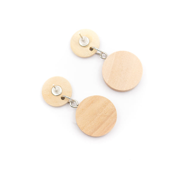 Natural wood with colorful cork fabric Original handmade women earrings-ER-103-MIX-5