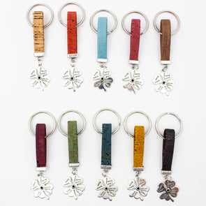Four-leaf flower Simple style colorful cork handmade  keychain  I-050-MIX-10