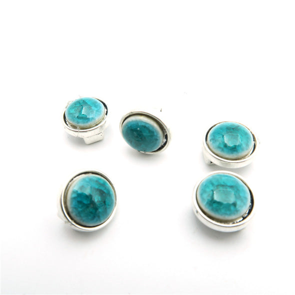 20 PCS For 9mm/3mm leather slider blue ceramics Rhinestones slider jewelry finding supplies D-1-10-121