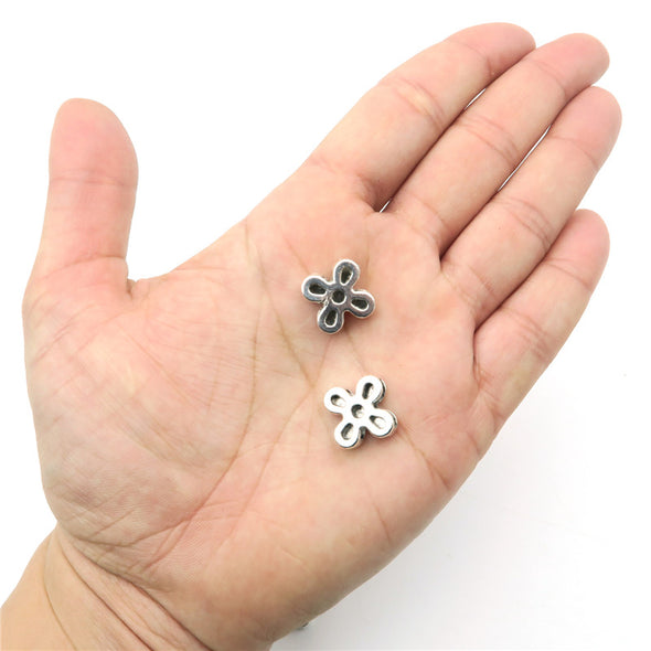 10 Pcs for 10mm flat leather, Antique Silver flower slider  beads jewelry supplies jewelry finding D-1-10-126
