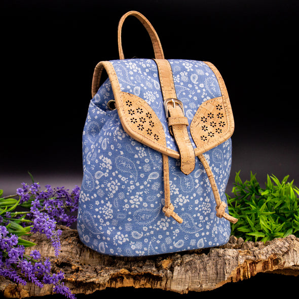 Cork laser cutting cork with Blue Textile women backpack OY-004-Randomly