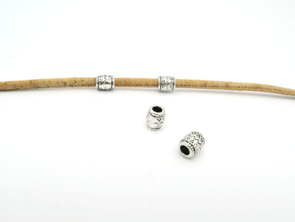 20 Pcs for 3mm round leather Antique Silver small round tube with draw jewelry supplies jewelry finding D-5-3-4