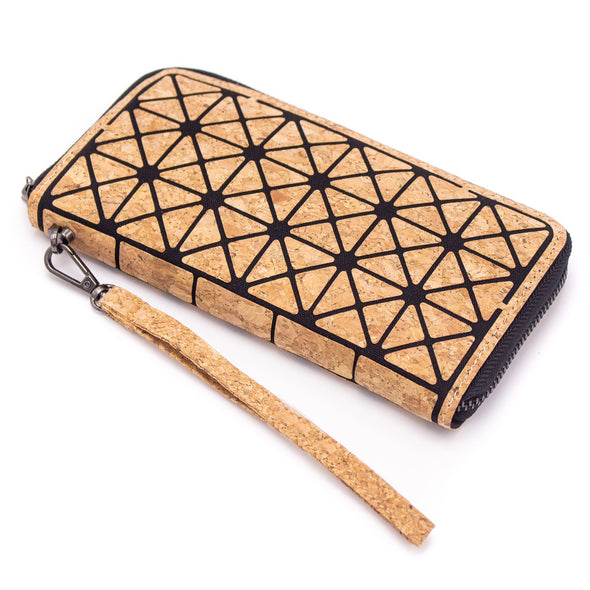 Geometric Triangle Cork Zipper Wallet BAG-2031