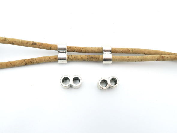 20 Pcs for 5mm round leather Antique Silver 2 Stand bead , jewelry supplies jewelry finding D-5-5-34