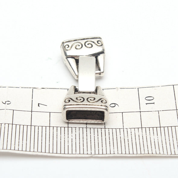 10Pcs for 10mm flat leather snap clasp, Antique silver D-6-45