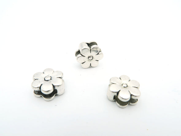 10 Pcs For 10mm flat leather,Antique Silver Flower  jewelry supplies jewelry finding D-1-10-3