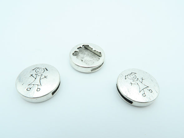 10 Pcs For 10mm flat leather,Antique Silver Girl jewelry supplies jewelry finding D-1-10-4