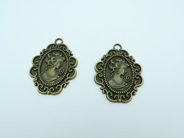5pcs Antique Brass Lady Pendants  jewelry supplies jewelry finding D-3-9
