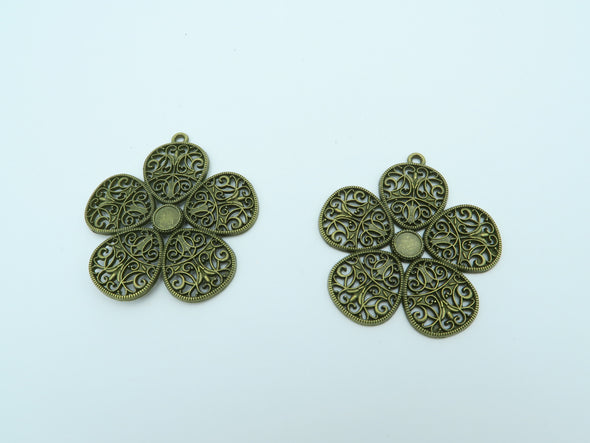 10pcs Antique Brass Flower Pendants  jewelry supplies jewelry finding D-3-10