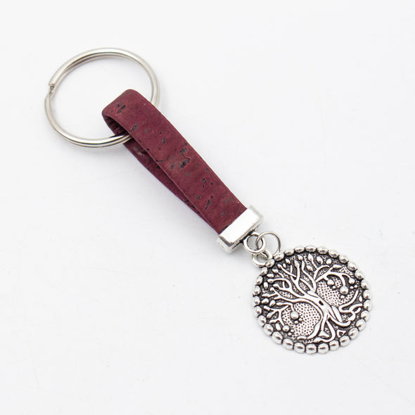 Round tree pendant Simple style colorful cork handmade  keychain  I-054