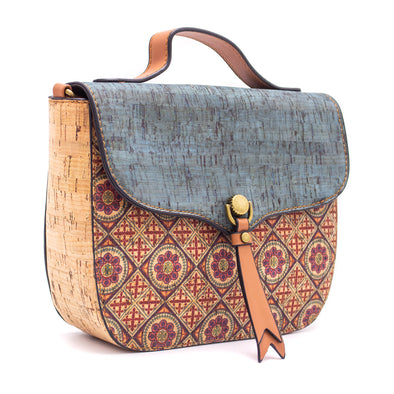 Cork Crossbody Bag Made With Cork Fabric | Vegan Leather Crossbody BAGD-190-B
