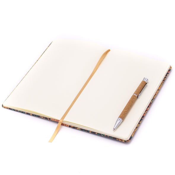 Cork daily notebook with flower parrten natural cork fabric L-520