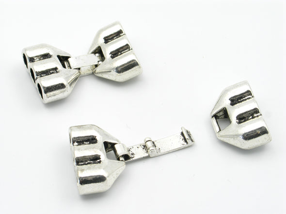 10Pcs for Triple Barrel  5mm Round leather 3 stands snap clasp, antique silver, jewelry supplies jewelry finding D-6-34