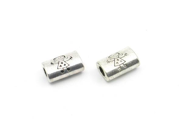 10 Pcs for 5mm round leather Antique Silver Girl bead , jewelry supplies jewelry finding D-5-5-30